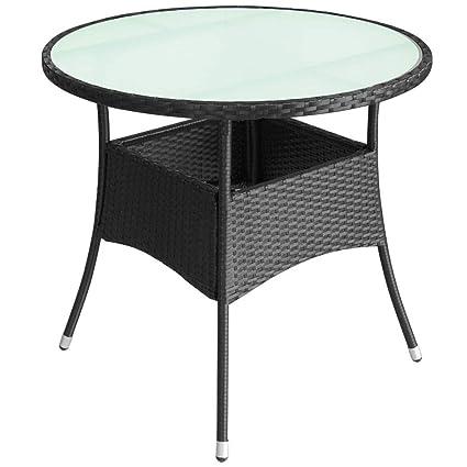 Tidyard Table de Jardin Ronde en Rotin pour Patio/Balcon ...