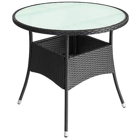Amazon Com Outdoor Table Poly Rattan 31 5 X29 Black Deck Yard