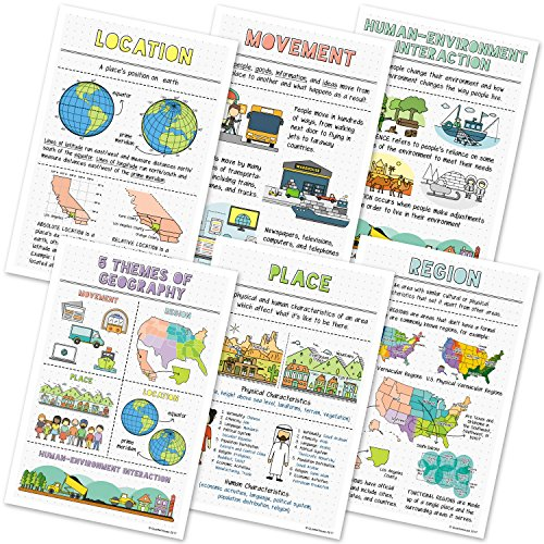 5 Themes of Geography Classroom Variety Posters, Set of 6, 12 x 18 inches