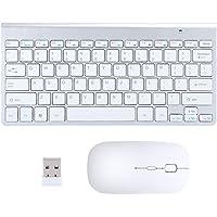 voor Desktop Laptop Computer, met Muis Set Draadloos Toetsenbord, voor Kantoor Huishouden,(Silver gray, Black)
