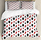Casino King Size Duvet Cover Set by Lunarable, Casino Poker Theme Pattern with Card Suits and Chips Fortune Wealth Luck Win, Decorative 3 Piece Bedding Set with 2 Pillow Shams, Red Black White