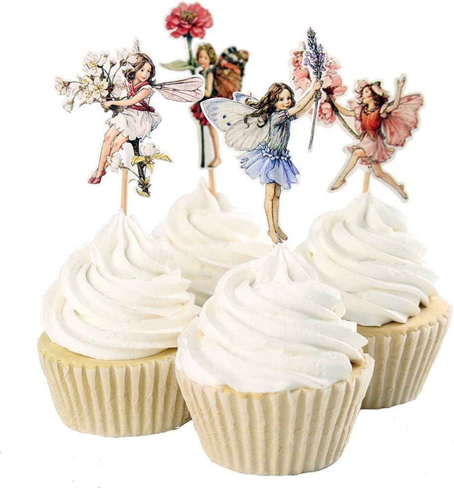 Cool Amazon Com 24Pcs Pretty Fairy Cupcake Toppers For Cake Personalised Birthday Cards Sponlily Jamesorg