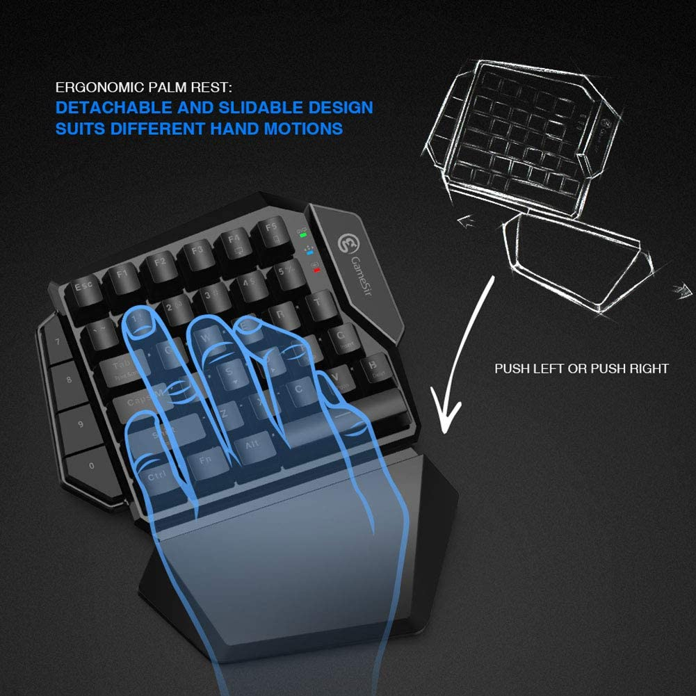 Mechanical Keyboard Bluetooth Mouse and Keyboard 2.4Ghz Wireless Keypad Mouse Combination One-Hand E-Sports Keyboard for Mobile Phones and Computer Games,Z2plusreceiver Z-XFY Gaming Keyboard