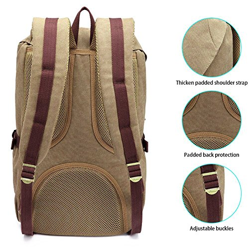 "KAUKKO Laptop Outdoor Backpack, Travel Hiking& Camping Rucksack Pack, Casual Large College School Daypack, Shoulder Book Bags Back Fits 15"" Laptop & Tablets (EP5AApricot[2pcs])"