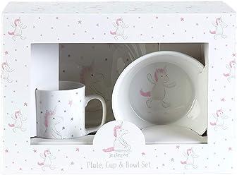 JELLYCAT BASHFUL Unicorn Harnais pour enfant en forme de licorne Coffret cadeau en gobelet assiettes et bol en porcelaine dans un bel emballage