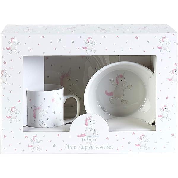 Jellycat Basful Unicorn - Juego de vajilla infantil (vaso, plato y ...