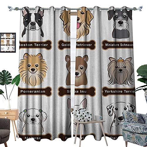 RenteriaDecor Dog Room Darkening Wide Curtains Various Type of Dogs Nameplate Boston Terrier Domestic Animal Faithful Loyal Decor Curtains by W84 x L96 Grey Cream White -