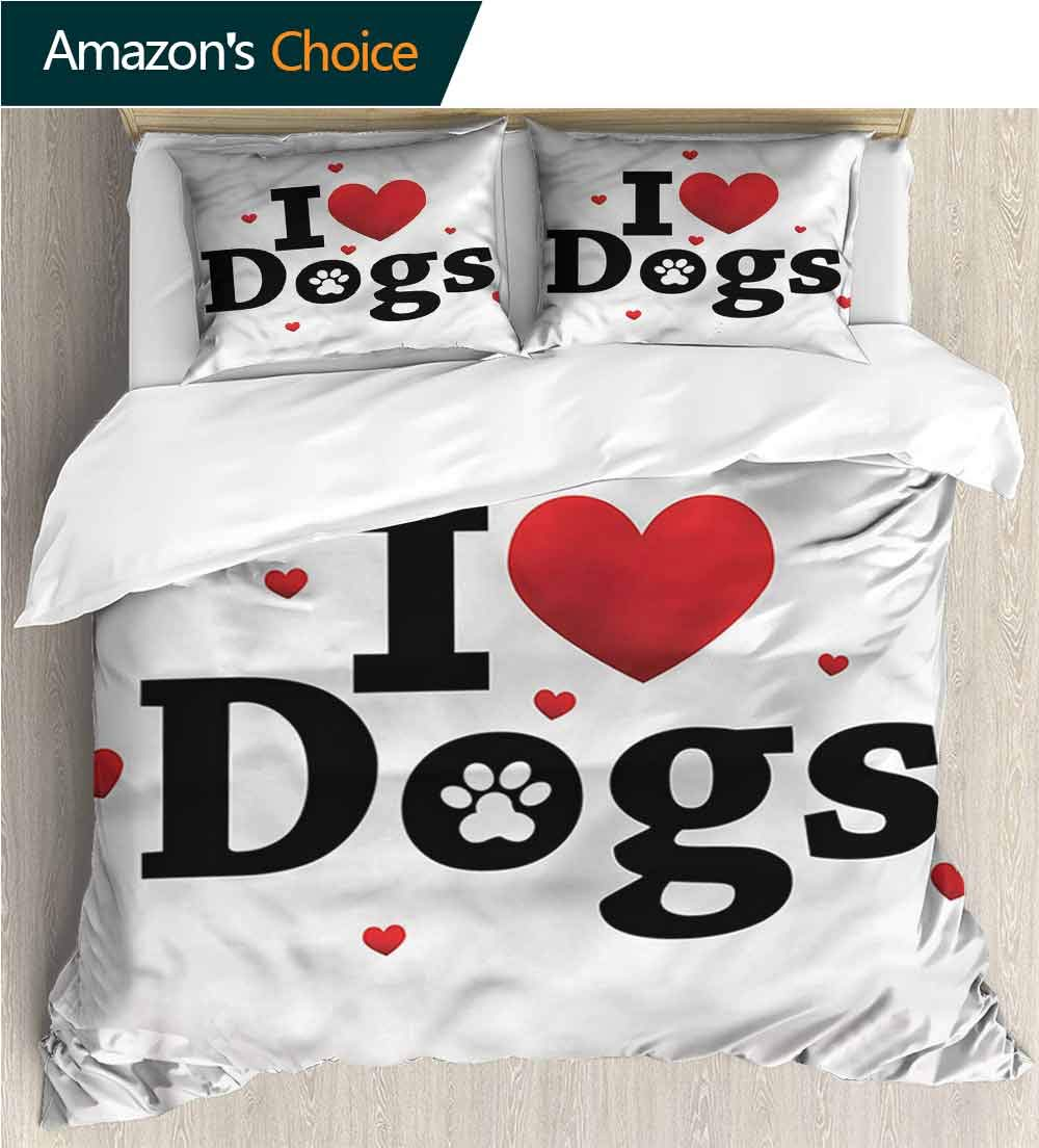 Home 3 Piece Print Quilt Set,Box Stitched,Soft,Breathable,Hypoallergenic,Fade Resistant Patterned Technique King Quilt Set-Dog Driver Funny Puppy Hearts 68 W x 85 L