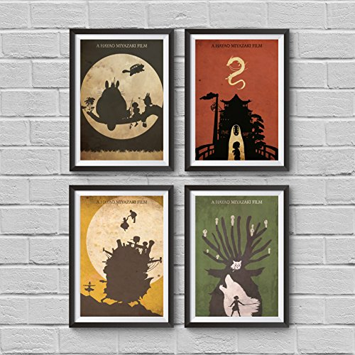 Hayao Miyazaki Minimalist Poster Set 4 My Neighbor Totoro Spirited Away Howl's Moving Castle Princess Mononoke Print Japanese Anime Illustration Manga Wall Artwork Home Decor Hanging Cool Gift - Castle Collection Wall