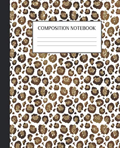 Composition Notebook: Wide Ruled Notebook | Gold Glitter Safari  Animal Print | Lined Journal | 100 Pages |  7.5 x 9.25