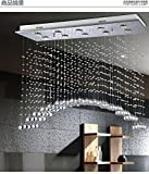 Siljoy L39″ X W12″ X H31.5″ Arched Clear K9 Rectangle Crystal Modern Crystal Ceiling Light Fixture Lighting