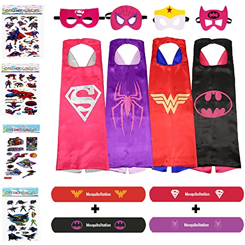 Superhero Costumes For Girls - 4 Capes & Masks + 4 Mosquito Repellent Bracelets (Captain America Costume And Prime)