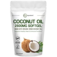 Maximum Strength Virgin Coconut Oil Supplement, 2500mg Per Serving, 180 Softgels...
