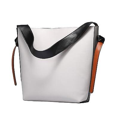 c0365f17d7 S-ZONE Women's Fashion Genuine Leather Tote Shoulder Bag Handbags  Hot(Grey-White