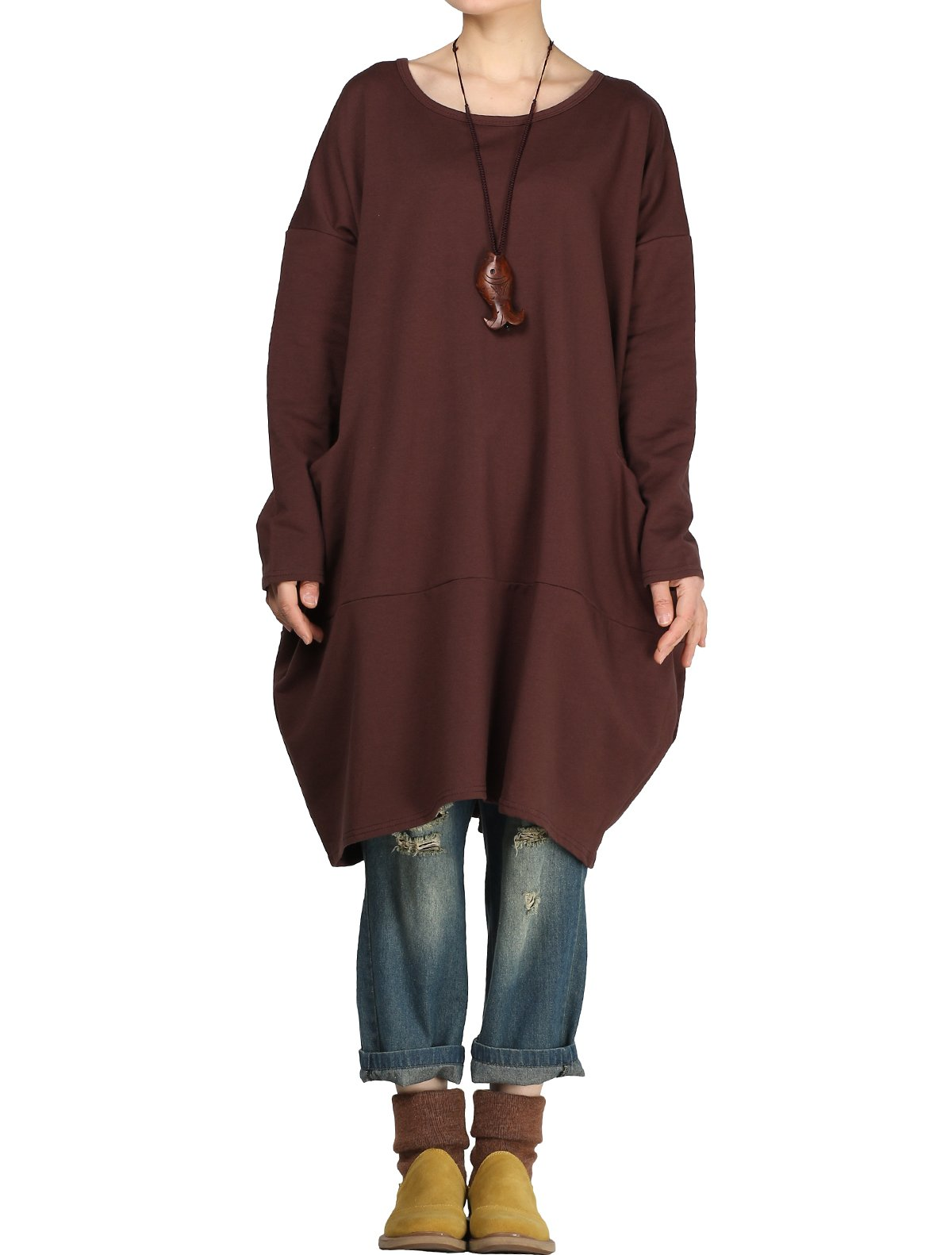 Mordenmiss Women's Stylish Sweatshirt Dress Knitted Jumpers Blouse Pullover w/Pockets L Coffee