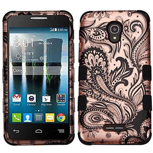 Asmyna TUFF Hybrid Phone Protector Cover for Alcatel Fierce 4 - Phoenix Flower (2D Rose Gold)/Black (Phoenix Flower)