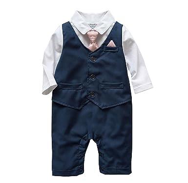0738dea4e Baby Boy Wedding Tuxedo Waistcoat Design 1pc Navy Outfit Suit ...