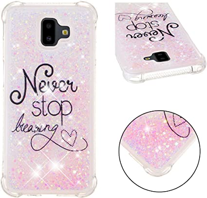 HMTECH Galaxy J6 2018 Coque Bling Rose Never Stop Dreaming rose coeurs Liquide Silicone Transparente Absorption Housse Swag Couverture pour Samsung ...