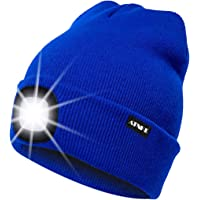 ATNKE LED Verlichte Beanie Cap, USB Oplaadbare Running Hat Ultra Bright 4 LED Waterproof Light Lamp en Knipperend Alarm…