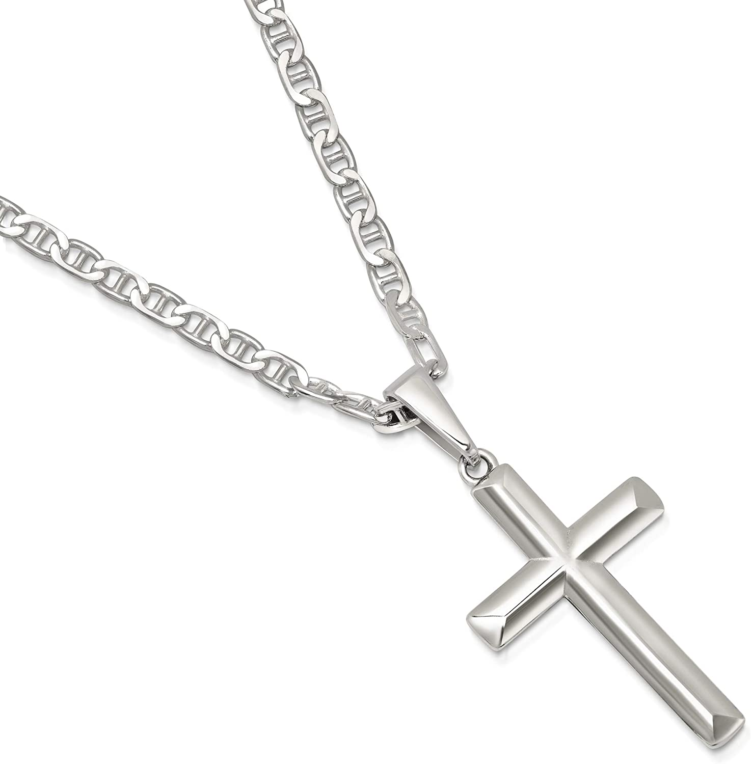 with Secure Lobster Lock Clasp Solid Stainless Steel Vintage Antiqued and Crystals Cross Pendant Necklace Charm Chain