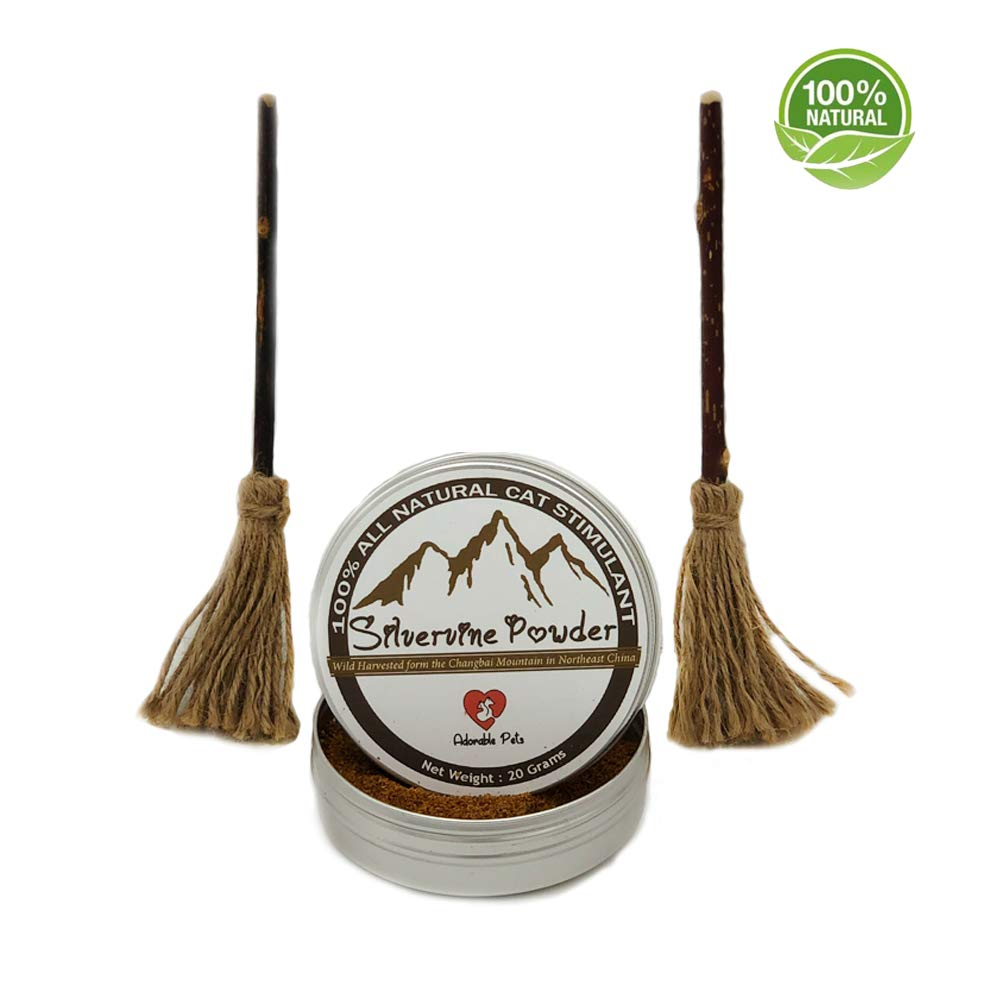 Adorable Pets : Organic Silvervine Magic Broom & Silvervine Powder   Catnip  Toy for Cat Kitten Kitty, 100% All Natural Silvervine Fruit with Non-Toxic