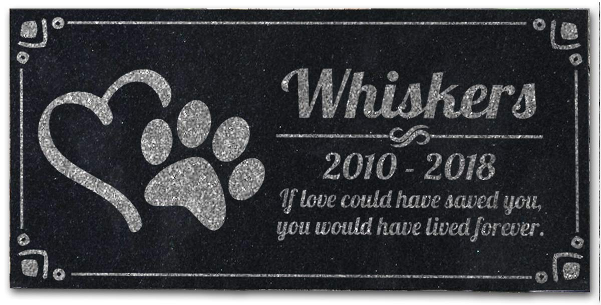 Pet Grave Marker Personalized Dog Paw Heart Pet Headstones Custom Engraved Absolute Black Granite Garden Plaque Engraved with Dog Cat Name Dates