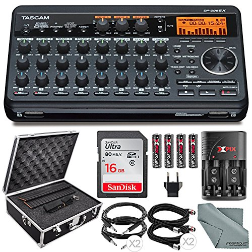 Tascam DP-008EX 8-Track Digital Pocketstudio Bundle with Protective Case +Rechargerbale Batteries & Charger + Cables + 16 GB + Fibertique Cleaning Cloth by Photo Savings