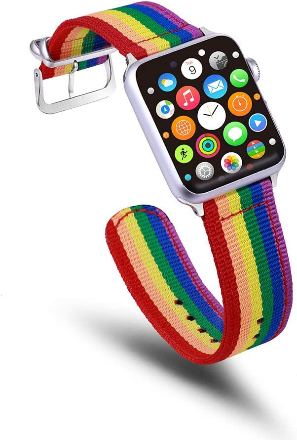 YGbridge Rainbow Wristband Watch Strap Compatible with Apple Watch Band Sport Watch Straps Women Men Nylon Replacement Wristband Compatible for Apple Watch iWatch Series 4/3/2/1 (Rainbow, 38mm/40mm)