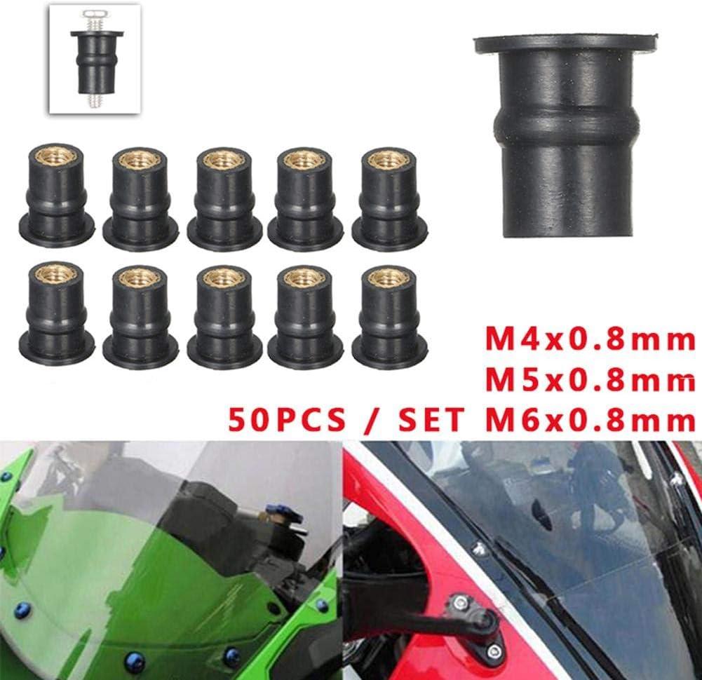 50 St/ücke M4 Pepional Gummi Mutter M5 M6 Gummi Messing Well Mutter F/ür Motorrad Windschutzscheibe