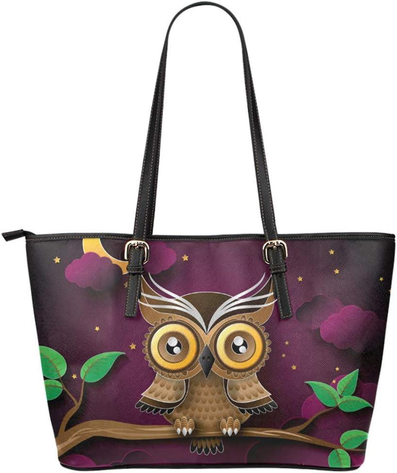 Owl Art Print Womens Leather Tote Shoulder Bag Big Capacity Work Travel Handbag #2