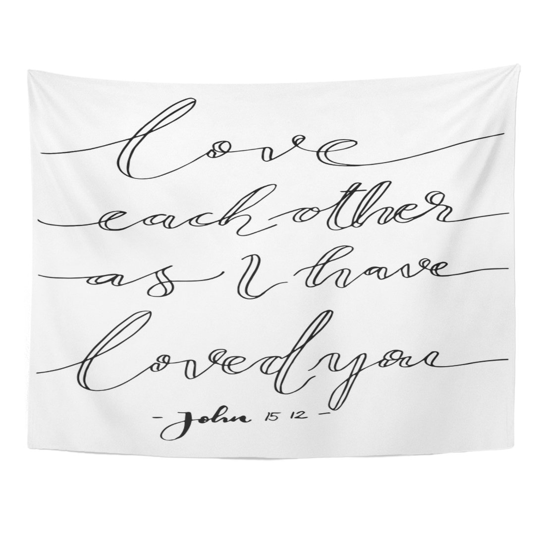 Breezat Tapestry Wall Love Each Other As I Have Loved You Lettering Bible Verse Modern Calligraphy Christian Beautiful Home Decor Wall Hanging for Living Room Bedroom Dorm 60x80 Inches