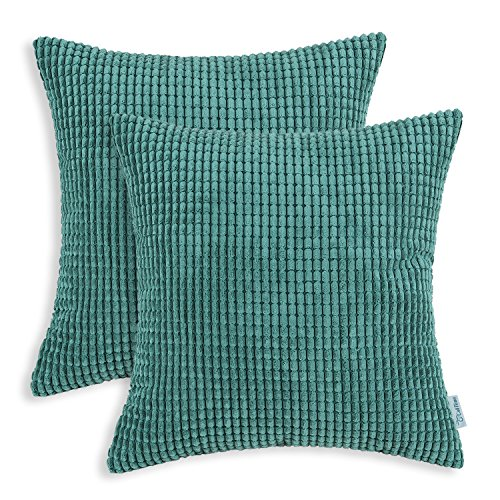 Pack of 2, CaliTime Throw Pillow Covers Cases for Couch Sofa Bed, Comfortable Supersoft Corduroy Corn Striped Both Sides, 24 X 24 Inches, Teal