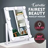 Embellir Makeup Mirror 9 LED Lighted Vanity Mirror with Hollywood Design,Touch Screen and 360°Free Rotaion for Dressing Table Desk Countertop Cosmetic(White)
