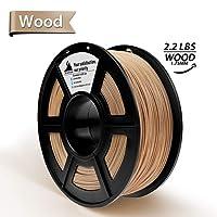 Real Wood 3D Printer Filament- PLA Wood 1.75 mm Filament,1kg(2.2lbs) Spool, Dimensional Accuracy +/- 0.02 mm,NO Clogging/15% Wood fiber and PLA mixed