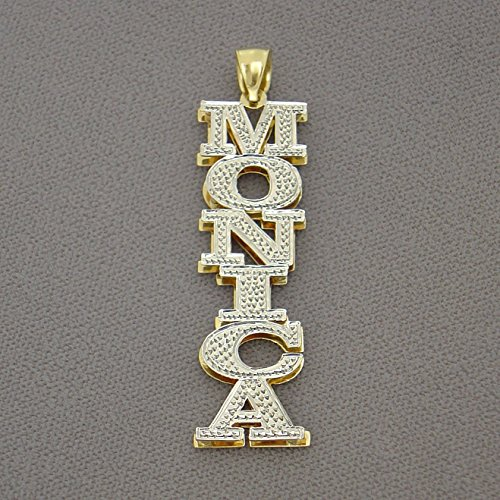14k Gold 3D Double Plates Personalized Large Vertical Name Pendant Charm by Soul Jewelry Inc