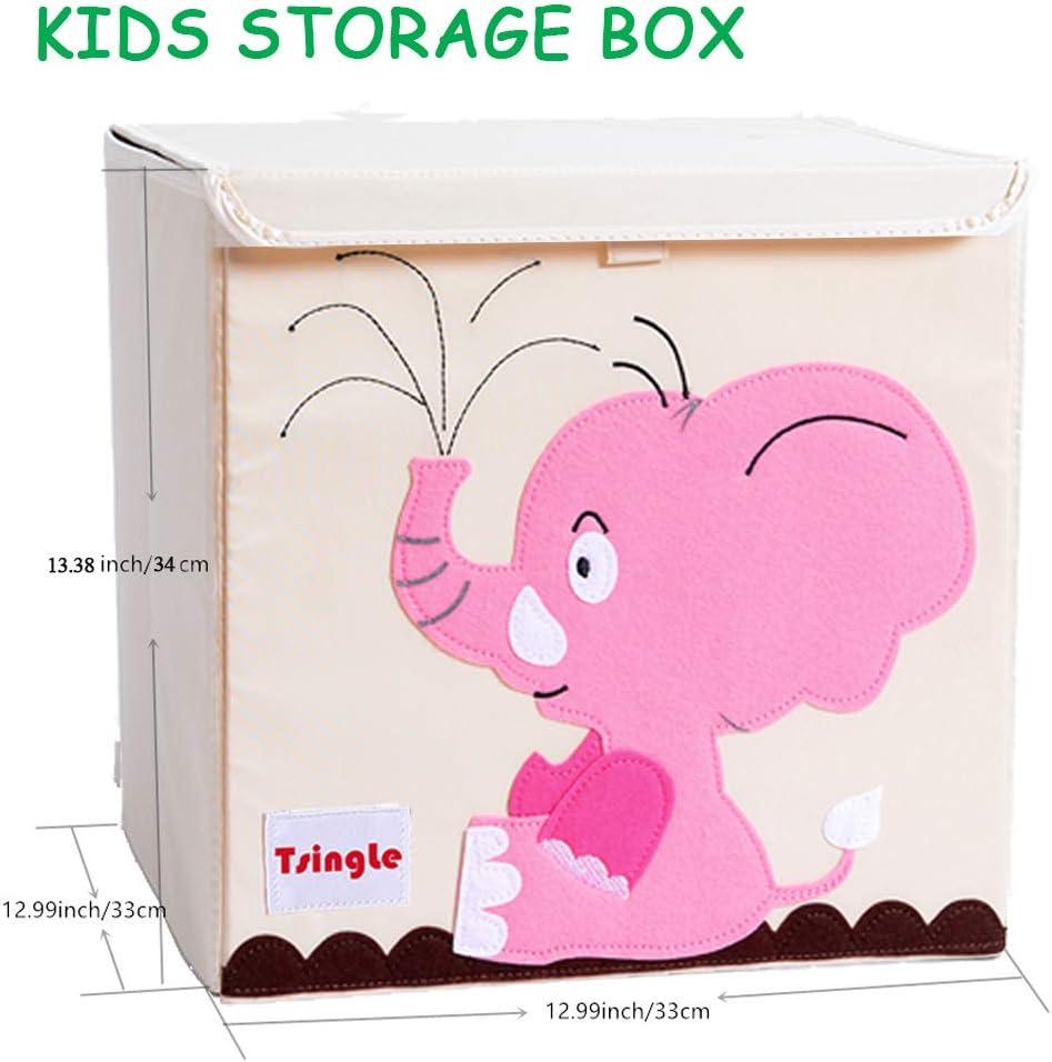TsingLe Bo/îte de rangement pliable pour enfants en toile de dessin anim/é Grande capacit/é avec couvercle organiseur cube pour v/êtements chaussures jouets 33 x 33 x 34 cm 36 L