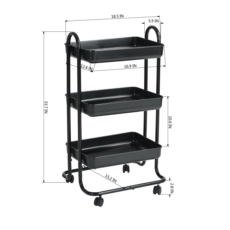HOMY CASA Kitchen Dining Rolling Cart Trolley 3 Storage Shelves Plastic Steel Black
