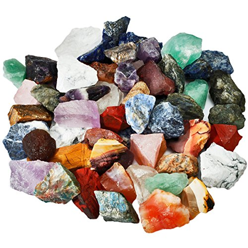 SUNYIK Natural Raw Stones Rough Rock Crystals for Tumbling,Cabbing,Assorted Stones,1pound(About 460 Gram) ()