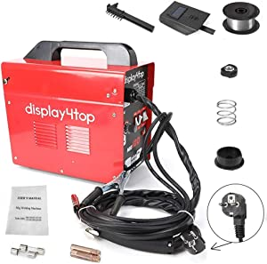 Display4top Soldador hilo continuo sin gas MIG 100 220V Máquina de Soldadora Aparato Eléctrico de Soldadura Máquina de Soldar Portátil para Casa Color Rojo
