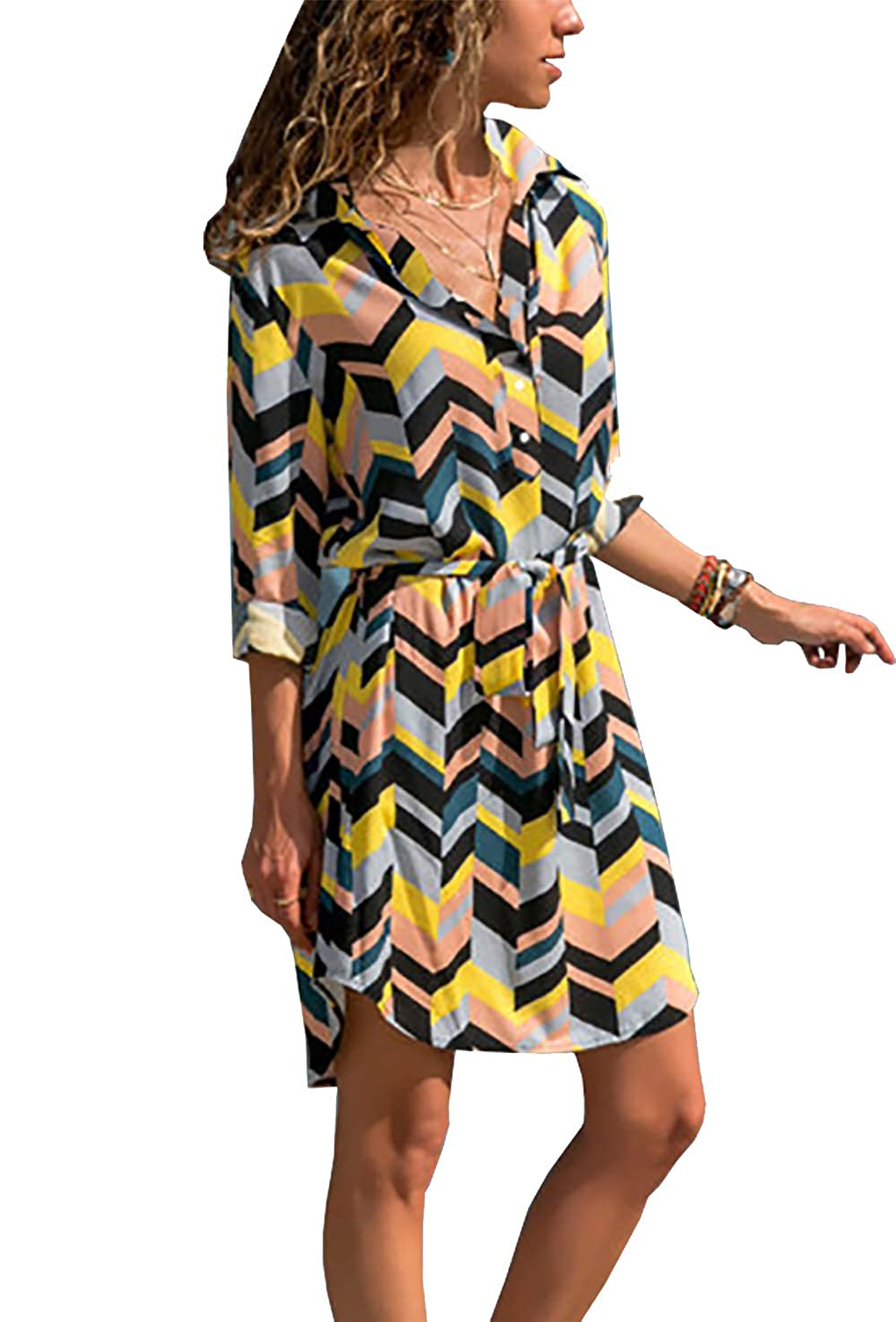 872b0eb6030 PRETTYGARDEN Women s Stripe Printed Hi-Lo Hem Side Split Roll-up Long Sleeve  Button Down Collar Belted Midi Shirt Dress Tops at Amazon Women s Clothing  ...