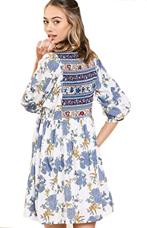 4124b398c6 Umgee This is Your Boho Dress! Mandy + Ally's Embroidered Mixed Media  Babydoll (Mix