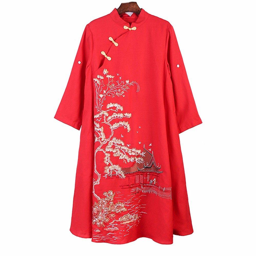 Folk style yingkesong surplice Pipa buckle loose waist A word dress Ms.,S,gules