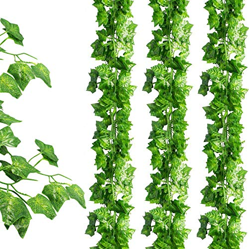 Wall Leaf Face - JPSOR 24 Pack (79 inch Each) Fake Ivy Artificial Ivy Leaves Greenery Garlands Hanging for Wedding Party Garden Wall Decoration