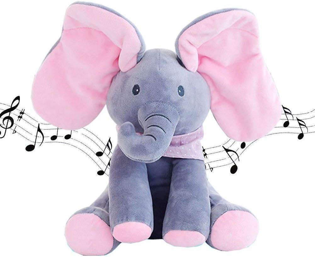 JNTM Elefante Peluche de Juguete, Música Juguete de Peluche para bebé Elefante, Juego Ocultar y Buscar Muñeca de Peluche Animada de Felpa Gran Regalo Navidad para niños y Adultos Pink