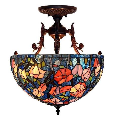 Casa Padrino - Lámpara de techo con pantalla de vidriera ...