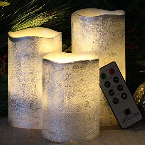 Battery Operated LED Flameless Candles - Set of 3 Round Rustic Silver Coated Ivory Wax with Warm White Flame Flickering LED Candles, auto-Off Timer Remote Control by LED Lytes by LED Lytes (Image #1)