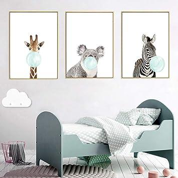 Nordic Ideas 3 Dessins Animaux Girafe Zèbre Koala Affiches Decoration  Chambre Bebe Tableau Enfants Décorations Murales Impression sur Toile sans  ...