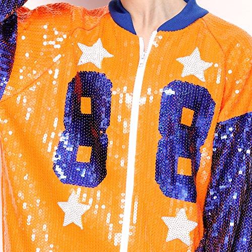 Sparkle Sequin Letter Jacket Coat - Glitter Long Sleeve Jacket for Women by IMAGICSUN (Image #4)