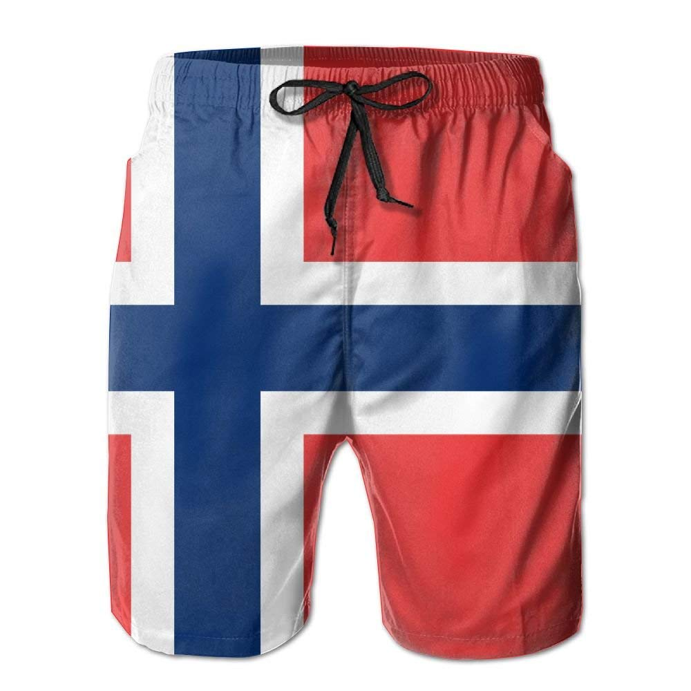 DHH166 Norwegian Flag Mens Beach Trunks Beach Short Pants Casual Sport Board Shorts