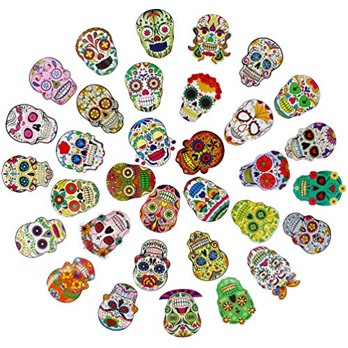 Sugar Skull Stickers Pack and Decals for Laptop Cars Motorcycles Helmets Skateboard Waterproof Vinyl Graffiti Halloween Decorations 50pcs